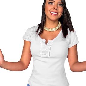fb7178f52 Blusinha Feminina Manga Curta Manguinha Baratinha Linda