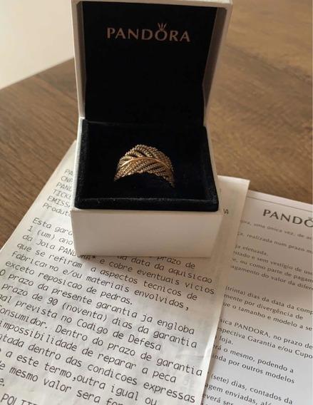 Anel Rosê Plumas Pandora Com Certificado E Caixa