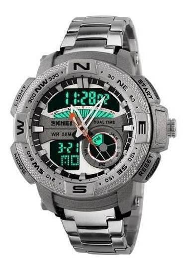 Relógio Masculino Skmei Anadigi 1121 Prata
