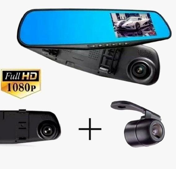 Kit Retrovisor Monitor Com Câmera Frontal + Camera De Ré 2x1