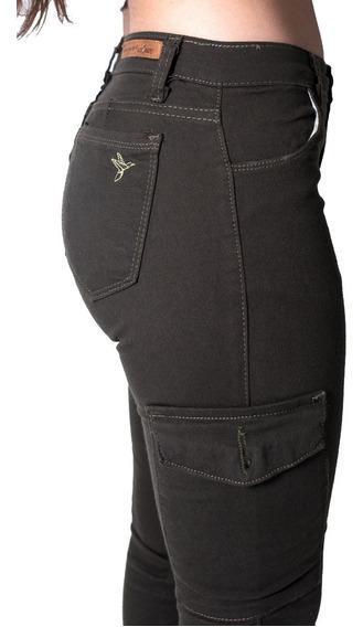 Pantalón Cargo Mujer . Gabardina Elastizada