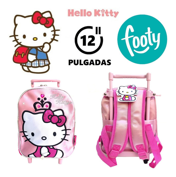 Mochila Hello Kitty Con Carrito Footy 12 Pulgadas !!!