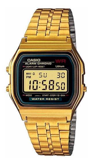 Relógio Casio Unissex Vintage A159wgea 1df Digital Dourado