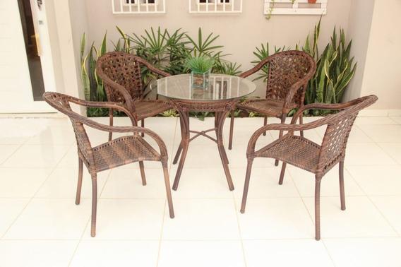 Conjunto Em Alumínio Nápoli Mesa + 4 Cadeiras