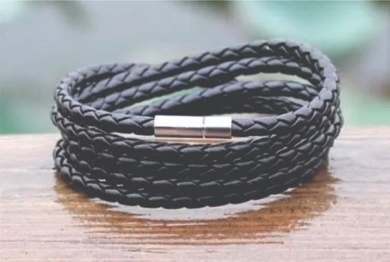 Pulseira Bracelete Masculina Couro Trançado 5 Voltas