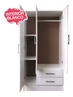 Ropero Placard 3 Puertas 2 C Interior 100% Melanina Blanca @
