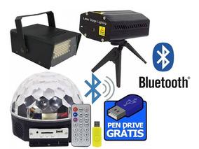 Kit Iluminação Projetor Lazer Strobos Bola Maluca Bluetooth
