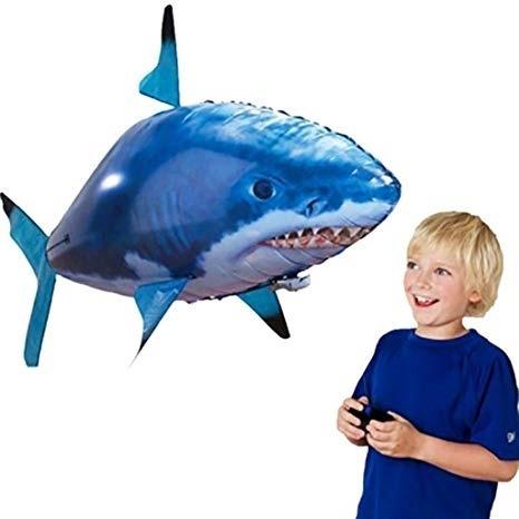 Peixe Voador Controle Remoto Tubarao Robo Dirigive Azul