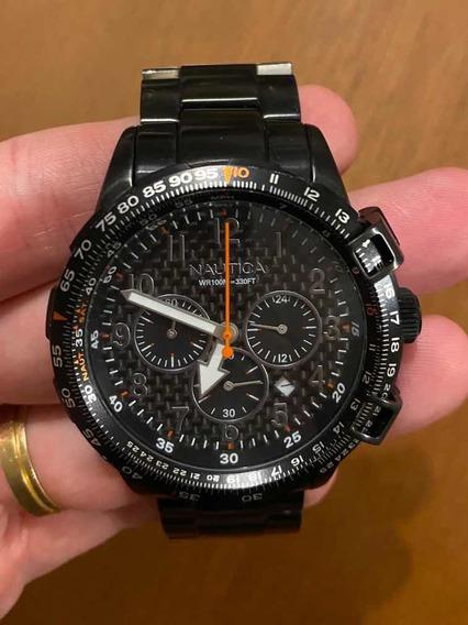 Relógio Náutica Aço Inox Preto