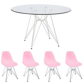 Conj Mesa Eiffel 90cm Vidro + 4 Cadeiras Eiffel Rosa