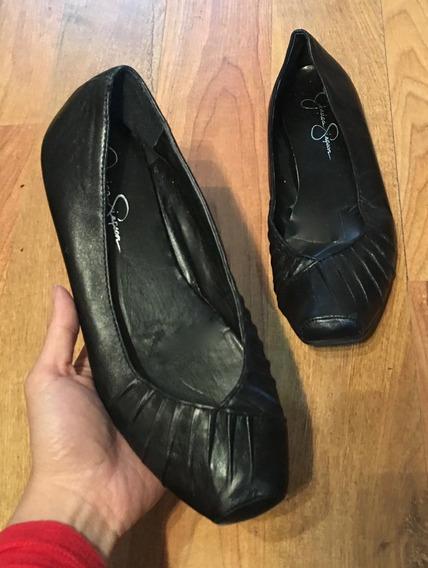 Padrisimos Zapatos Flats Jessica Simpson Piel Fina Negra C!!