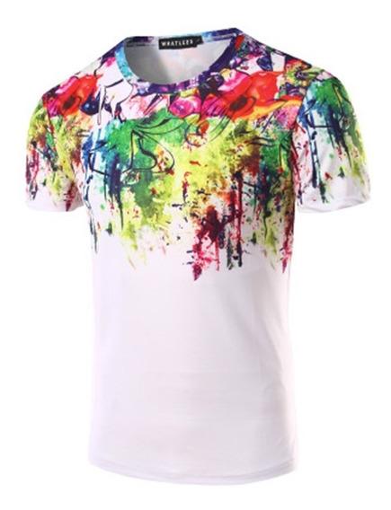 Hombre 3d Acuarela Colorido Estampado De Pintura Camiseta