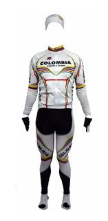 Uniforme Completo Colombia De Ciclismo Para Hombre -blanco M
