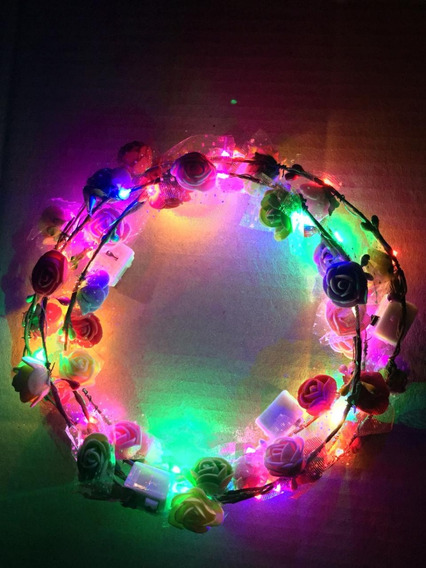 Vincha Flores Hippie Led Tiara Corona Hawaiana Cot Luminoso