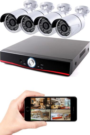 Gravador Dvr + 4 Câmeras Ahd Híbrido 1080p P2p Cloud 5 Em 1