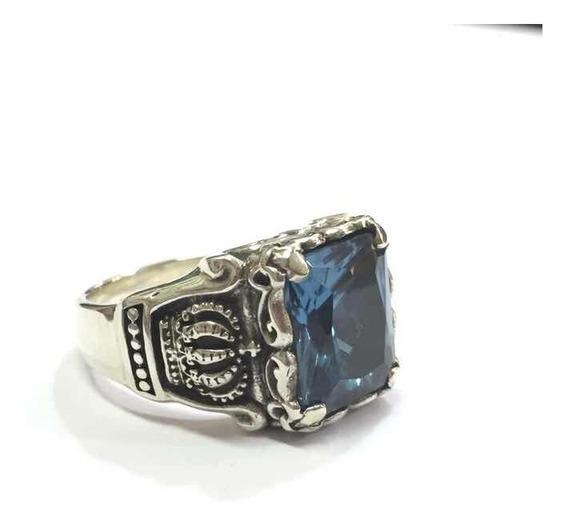 Anel Coroa Pedra Azul Prata De Lei 950 Trabalhado 01