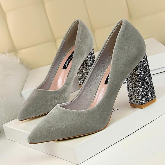 Moda Sapatos Calcanhares Alto Mulheres Bombas Bling Calcanha