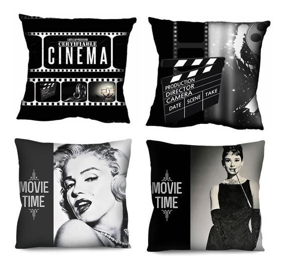 4 Capas De Almofada Cinema Retrô Audrey Marilyn 42x42