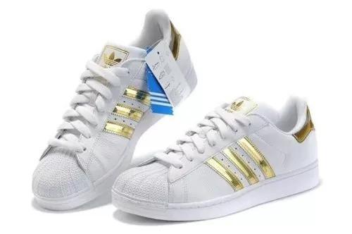 sale retailer 213ba 50460 tênis adidas superstar feminino branco - dourado