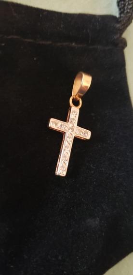 Cruz De Oro Y Oro Blanco Con Diamantitos 10k Largo 2.8cm