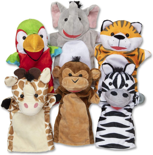 Imagen 1 de 7 de Melissa & Doug Amigos Safari 6 Títeres Mano Marionetas Niños