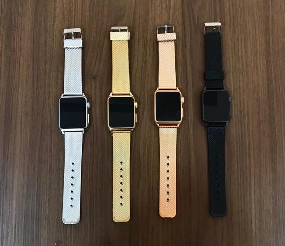 Relógio Masculino E Feminino Led Watch Preto Dourado Prata