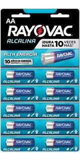 Pack 10 Pilas Alcalinas Aa Rayovac 815 Troqueladas Doble A