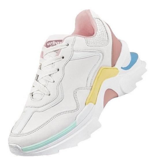 Tenis Sneakers Dama Mujer Urbano Chunky Plataforma 5cm Casua