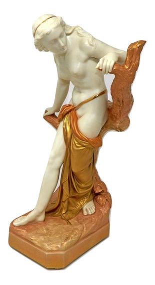 Grande Estatua Antigua Porcelana Royal Worcester Bañista