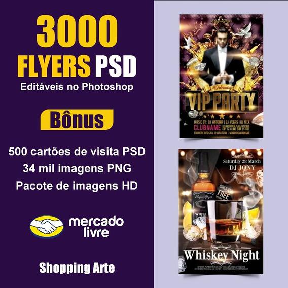 Flyers Para Psd 3000 Modelos + Cartões De Visita + Bônus