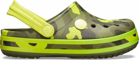 Zapato Crocs Infantil Crocband Multigraphic Camuflaje Verde