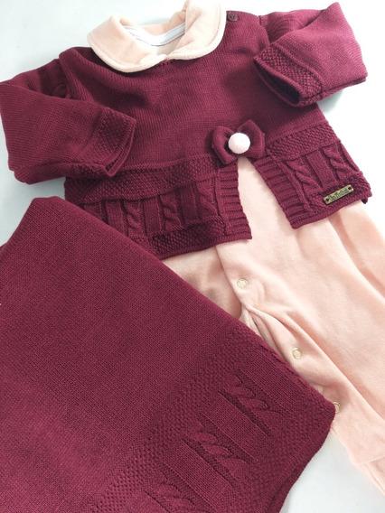 Saida De Maternidade Plush Com Blusa Trico Lacinho 3 Peças