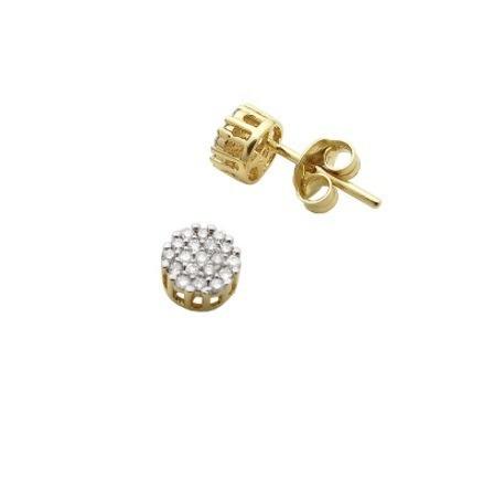 Brinco De Ouro 18k Chuveiro Redondo + Diamante Naturais U26
