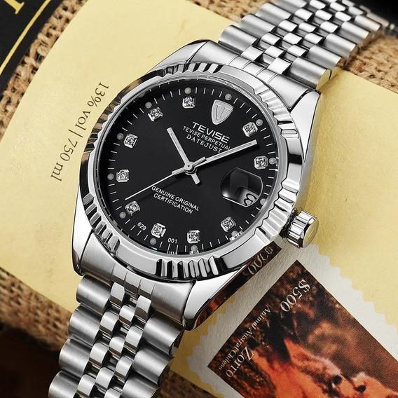 Relógio Mecânico Tevise Masculino Prata Com Preto