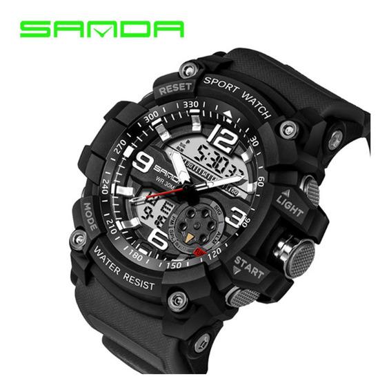 Sportwatch Sanda Sd038, Anti-shok, Eletrônico, Duas Baterias