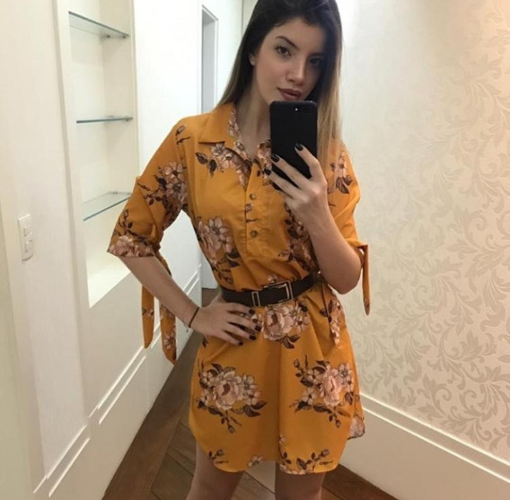 Vestido Feminino Floral Lindo Chemise Viscose Roupa Moda Top