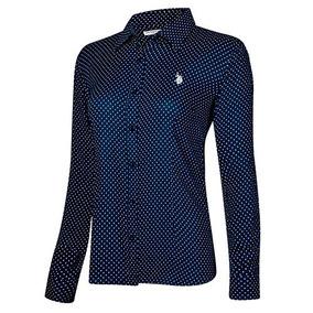 Camisa U.s Polo Assn Usyls-41-1043 Marino-blanco Dama Pv