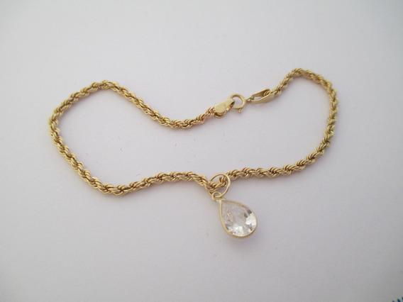 Bela Pulseira Cordão Com Gotinha - Ouro 18k - 1.74 Gr