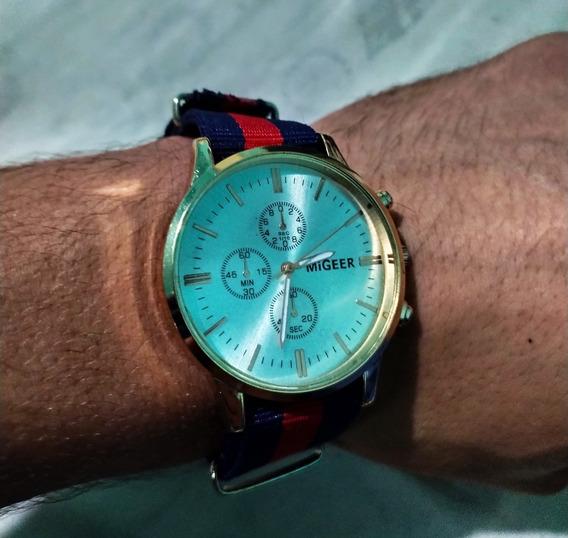 Relógio Casual Listrado Unissex