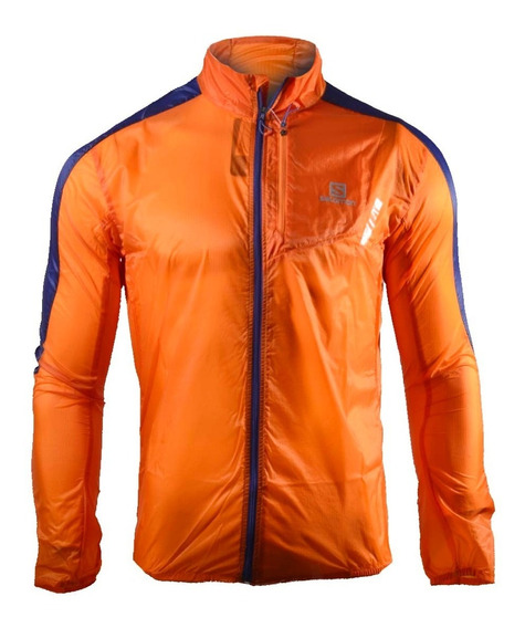 Campera Rompeviento Salomon Fast Wing Hombre Naranja