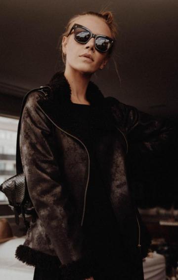 Jaqueta Pele Sintética Feminina Chicago Preta Dolce Maria