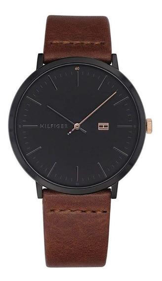 Relógio Tommy Hilfiger Preto Em Couro Marrom 1791461