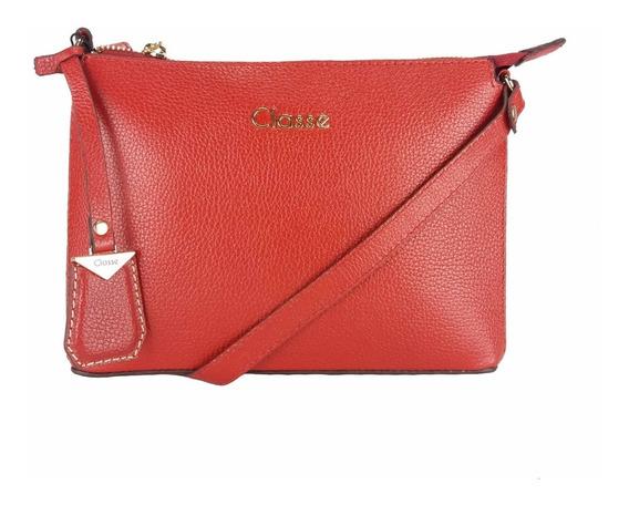 Bolsa Transversal Feminina De Couro Pequena Vermelha 100767