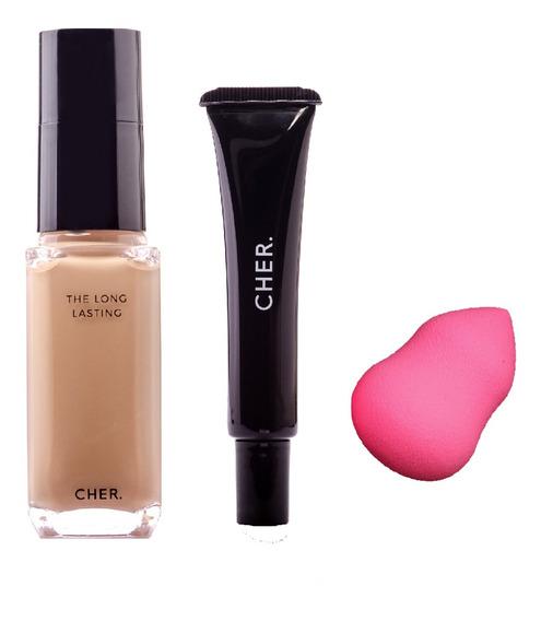 Set De Maquillaje Cher Base + Corrector+ Esponja Blender