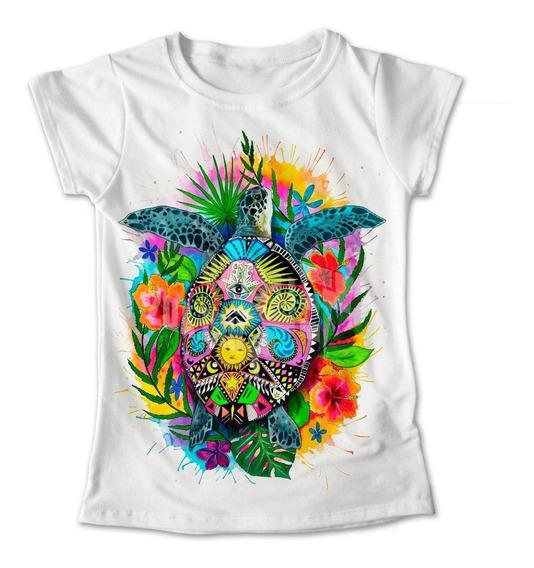 Blusa Tortuga Flores Color Playera Estampado #356