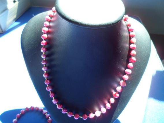 Colar De Perolas Barroca Metalico Rosa De44,5cm Folheado A O