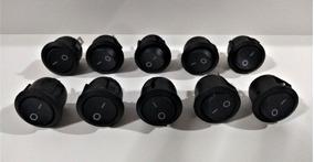 Kit 10x Botão Liga/desliga Redondo 23mm Preto Bivolt.