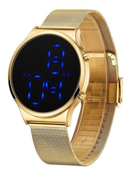 Relógio Feminino Tuguir Dourado Original + Pulseira Couro