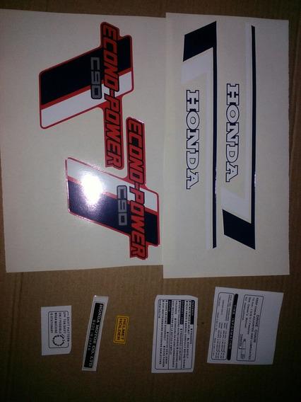 Calcos Honda C90 Econo Power Faro Cuadrado Roja