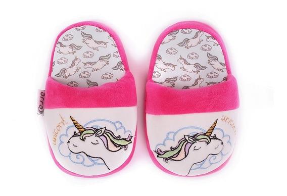 Pantufla Arra Para Niña Blanca Bordado De Unicornio Pink
